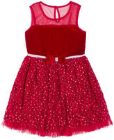 Little Lass Short Sleeve Red Velvet Lace Dress - Baby Girls