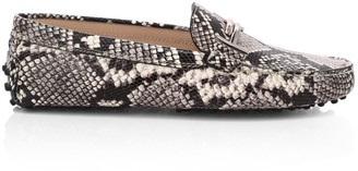 Tod's Gommino Double T Snakeskin-Embossed Leather Driving Loafers