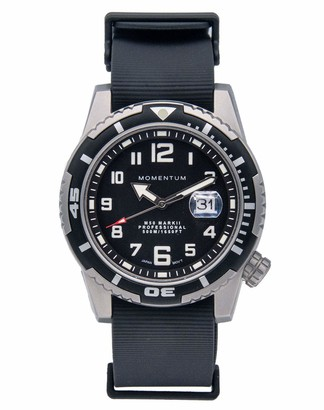 Momentum Mens Sports Watch | M50 Nylon Dive Watch by | Stainless Steel Watches for Men | Sapphire Crystal Analog Watch with Japanese Movement | Water Resistant (500M/1650FT) Classic Watch - Black / 1M-DV52B11B