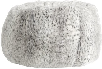 Pottery Barn Teen Gray Leopard Faux-Fur Bean Bag Chair