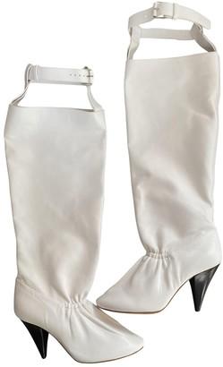 Celine Soft Ballerina White Leather Boots