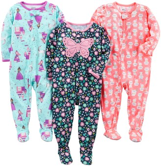 Carter's Simple Joys by Baby Girls' 3-Pack Loose Fit Flame Resistant Polyester Jersey Footed Pajamas