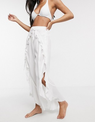 Asos DESIGN ruffle split front beach pants with tie waist in white