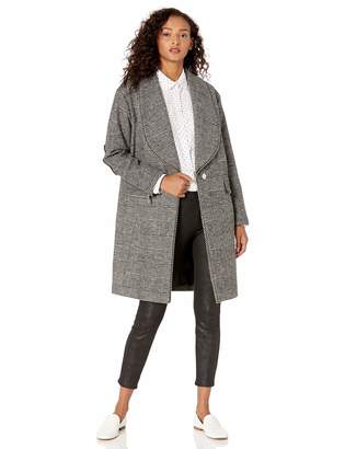 GUESS Women's Wool Coat with Pearl Trim and Faux Leather Details