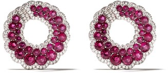 David Morris 18kt White Gold Large Round Ruby And Diamond Hoop Earrings