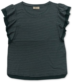 Style&Co. Style & Co Petite Striped Mesh-Trim Top, Created for Macy's