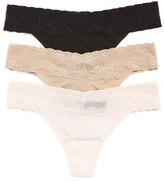 Natori 'Bliss Perfection' Lace Trim Thong (3-Pack)