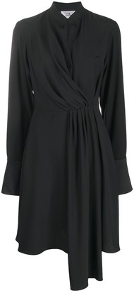Victoria Victoria Beckham Drape-Front Band Collar Dress
