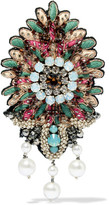 Etro Embroidered, Bead, Crystal And Faux Pearl Brooch - Mint