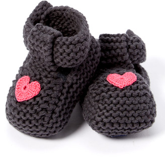 Loralin Design Girls' Infant Booties and Crib Shoes Dark - Dark Gray & Fuchsia Heart Booties - Girls