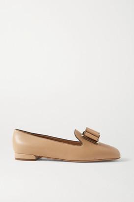 Salvatore Ferragamo Zaneta Bow-embellished Textured-leather Loafers - Beige
