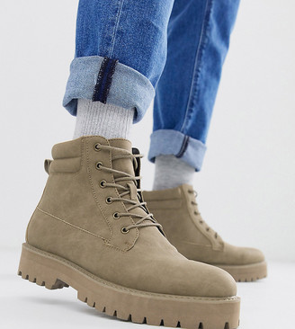 ASOS DESIGN Wide Fit lace up boots in stone faux suede with stone sole