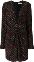 Saint Laurent deep v-neck long sleeved dress