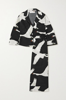Desmond & Dempsey Printed Organic Cotton Pajama Set - Black