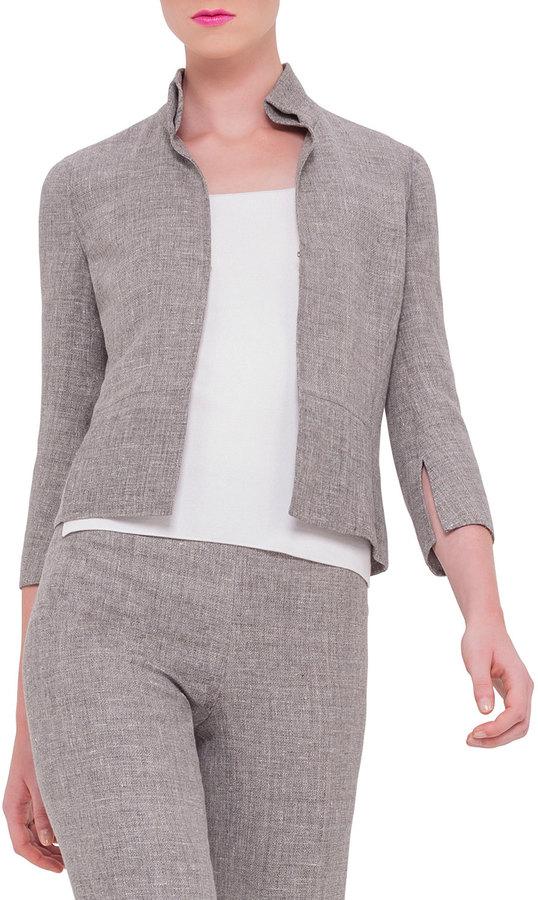 Akris 3/4-Sleeve Mock-Neck Jacket, Dark Zinc