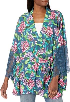 GUESS Women's Three Quarter Sleeve Floral Kimono