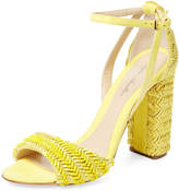 Monique Lhuillier Women's Ava Woven Suede Two-Piece Sandal
