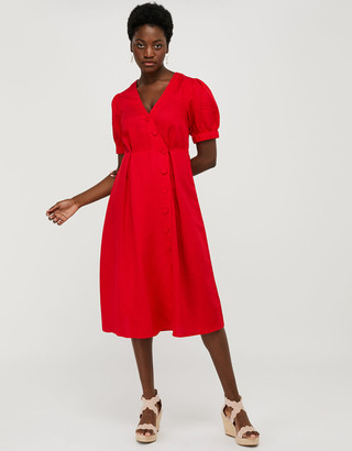 Under Armour Terra Tea Dress in Linen Blend Red