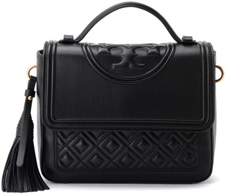 Tory Burch Fleming Handbag In Quilted Black Leather With Front Logo