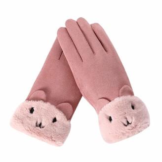 xuebinghualoll Women's Winter Cute Cat Gloves Touchscreen Soft Warm Windproof Fleece Lined Mittens for Outdoor Sport
