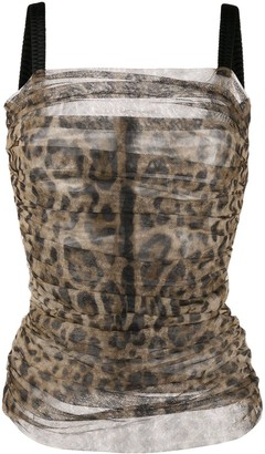 Dolce & Gabbana Leopard Print Ruched Top