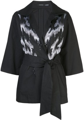 Natori Taffeta Embroidered Belted Jacket