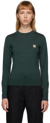 MAISON KITSUNÉ Green Wool Fox Head Sweater