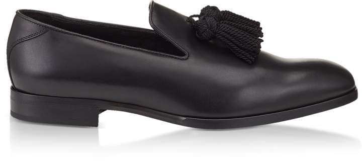 Jimmy Choo Foxley Black Soft Nappa Leather Tasselled Slippers
