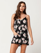 Full Tilt Floral Button Front Womens Romper