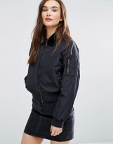 Brave Soul Bomber Jacket With Faux Fur Collar