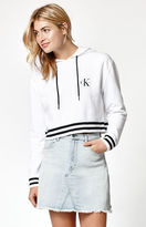 Calvin Klein Striped Ribbed Cropped Pullover Hoodie