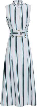 Diane von Furstenberg Belted Striped Cotton-poplin Midi Shirt Dress
