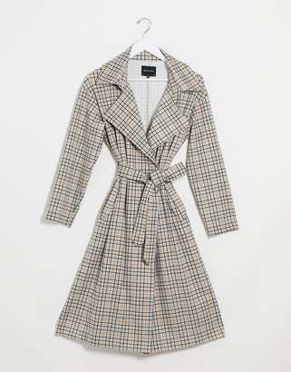 Brave Soul casey mac with tie waist in heritage check