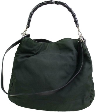 Gucci Bamboo Green Cloth Handbags
