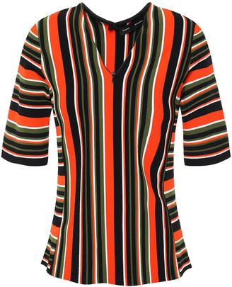 Proenza Schouler Zip-detailed Striped Intarsia-knit Top