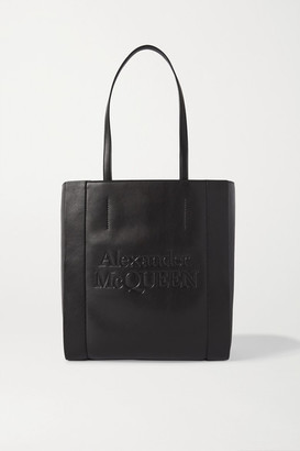 Alexander McQueen Signature Large Embossed Leather Tote - Black