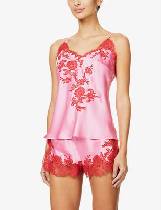Marjolaine Gemma lace-embellished silk camisole