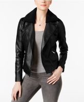 French Connection Faux-Shearling-Collar Moto Jacket, A Macy's Exclusive