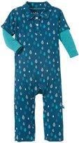 Kickee Pants Print Polo Romper (Baby) - Peacock Rain Drops-NB
