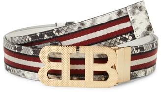 Bally Iconic Buckle Mirror Stripe Snakeskin-Print Belt