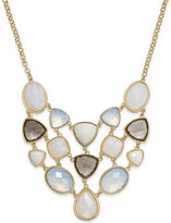 Charter Club Gold-Tone White Stone Bib Necklace