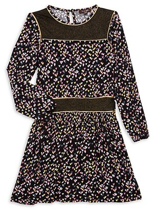 Imoga Little Girl's Girl's Heart-Print Long-Sleeve Dress