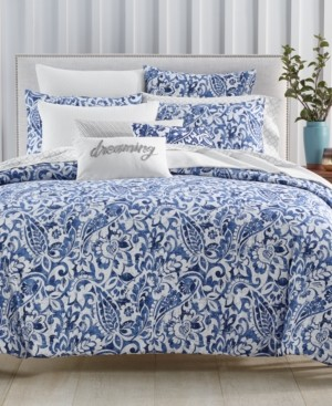 Charter Club Damask Designs Textured Paisley Cotton 300-Thread Count 3-Pc. Full/Queen Duvet Cover Set, Created for Macy's Bedding