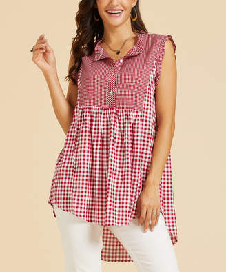 Suzanne Betro Weekend Women's Tunics 101RED/WHITE - Red & White Gingham Contrast Bib Button-Front Hi-Low Tunic - Women & Plus
