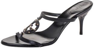Gucci Black Leather Studded GG Interlocking Slide Sandals Size 38