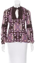 Tory Burch Crocheted-Accented Printed Top