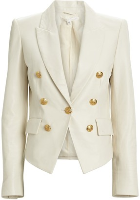 Veronica Beard Cooke Leather Dickey Blazer
