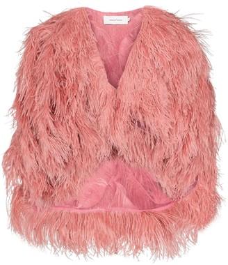 Marques Almeida Marques'Almeida feather embellished jacket
