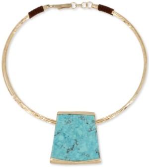 "Robert Lee Morris Soho Gold-Tone Geometric Pendant 16"" Collar Necklace"