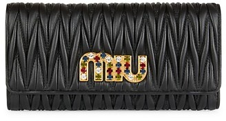 Miu Miu Metallic Matelasse Leather Wallet Clutch